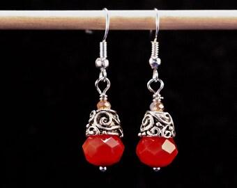 Reclaimed Vintage Earrings, Drop Earrings, Dangle, Pierced, Gift Set, Blood Red, Blush Pink, Glass, Silver, Jennifer Jones, OOAK  - Red Keep