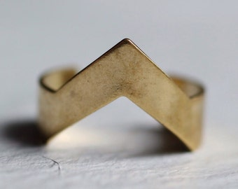 Geometric Mountain Ring ... Vintage Midi Stacking Ring Gold Brass Adjustable