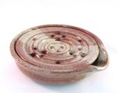 Soap Dish - Pottersong - Handmade Pottery - Draining - One Piece - Soap Saver - Kitchen  Bath - Drain Tray - Earthtone - Rust Speckled Cream