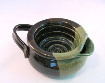 Shaving Scuttle Mug - Shave Mug - Lather Bowl - Comfort Hot Shave - Handmade Pottery - Pottersong Pottery - Olive Black and Rustic Green