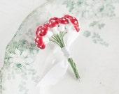 Miniature Mushrooms - 12mm Red Spun Cotton Toadstools, One Dozen