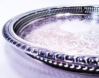 Silver Serving Tray Shabby Chic Wm Rogers 671 Vintage 60's