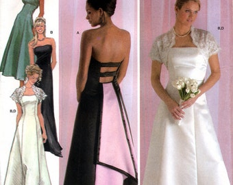 Simplicity 4876 Sewing Pattern by Jessica McClintock Misses' Evening Dress and Shrug Jacket - Uncut - Size 14, 16, 18, 20, 22