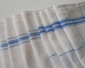 Set of 8 Vintage French Kitchen Towels or Torchon with Blue Stripes on Linen  and Cotton
