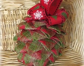 Ribbon Pinecone Christmas Ornament handmade Christmas ornament rustic ornament