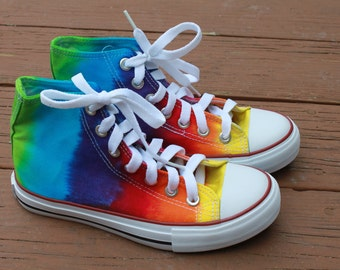 Tie dye Rainbow Hi top shoes