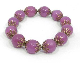 Lilac Purple Antiqued Brass Stretch Gemstone Beaded Bracelet 1032