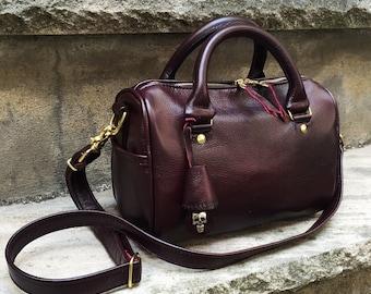 Small Leather Barrel Bag Handbag in YOUR CHOICE of leathers - Satchel Handbag - Boston Bag- Laurel Dasso