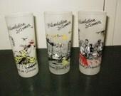 Vintage Drinking Glasses,Set of 3, Plantation Scenes, Ice Tea glass, Lemonade glass