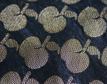 Gold Apples - 1 yard of Cotton Silk Brocade Fabric in an apple print
