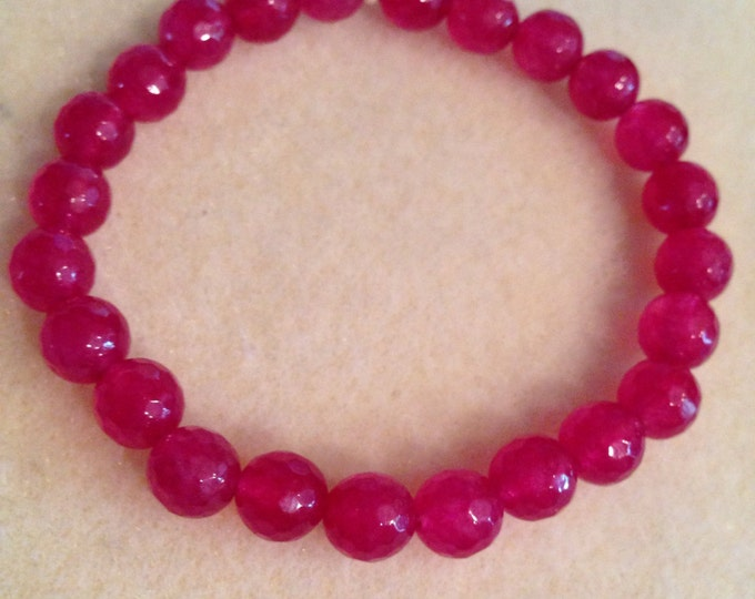 Fuchsia Magenta Rose Pink Jade 8mm Faceted Stretch Bead Bracelet with Sterling Silver Accent