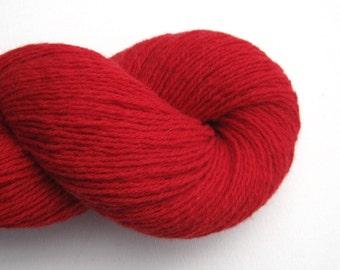 Merino Angora Blend Recycled Yarn, Fingering Weight, Red, Lot 010616