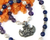 Birds Flower Pendant Necklace Lapis Lazuli Gemstone Amethyst Glass Handmade Beaded Jewelry