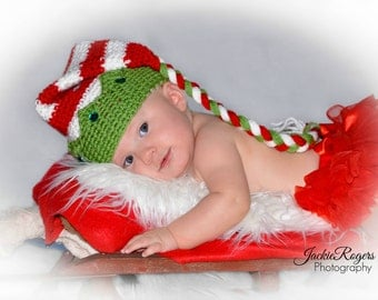 Christmas Elf Jester Hat, Holiday Hats, Christmas, Newborn Photo Prop, Red and White, Tassel Hat, Holiday Sets, Christmas Crown Hat