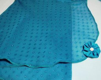 "14"" Dark Turquoise Glitter Dot Chiffon Ballet Wrap Skirt"