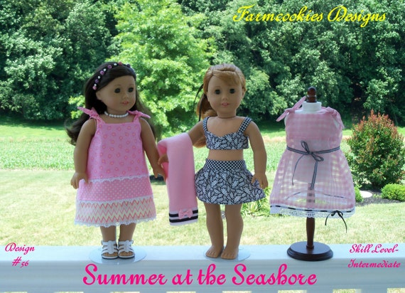 PRINTED Sewing Pattern /SUMMER at the SEASHORE / 1950's Style Pattern for American Girl Maryellen, Kit, Molly