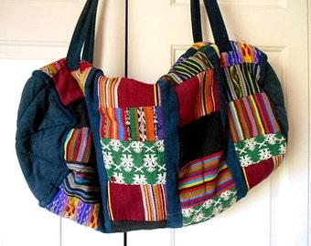 Vintage Guatemalan patchwork Over night Bag
