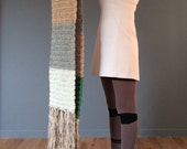Scottish Tweed aran and organic silk fringed scarf, luxury knitwear,handmade in Scotland, Chunky wool scarf
