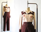 Hold for Gavin J BAR J RANCHWEAR Vintage 50s Shirt and Pants | 1950s Two Tone Embroidered Brown & Tan Western 2 Piece