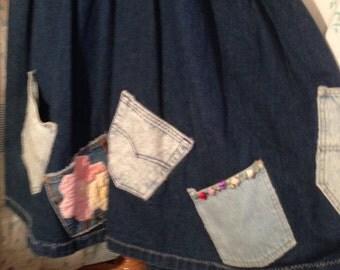 SMALL, Flowerchild Hippie Patchwork Pocket Denim Skirt