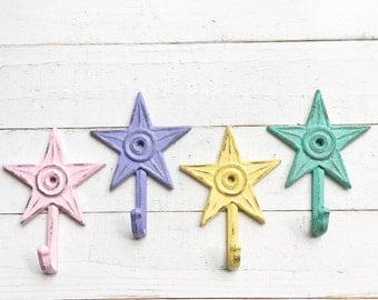 Star Wall Hooks- Colorful- Cast Iron -Small Dainty-Set Of 4-Laundry Room-Summer Decor-Cute-Shabby Cottage-Distressed Hook-Bathroom Decor Set