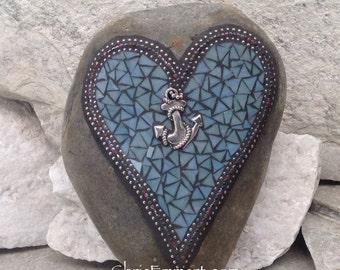 Love is an Anchor / Heart -Mosaic / Garden Stone