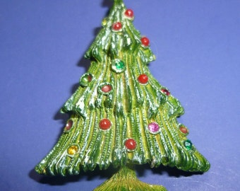 Vintage Decorated Christmas Tree Pin, 1970s