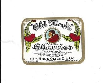 Vintage Old Monk Brand Maraschino Cherries Label, 1950s
