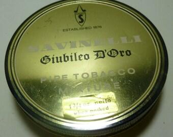 Savinelli Giubileo D'Oro Vintage Tobacco Tin, C1970s (empty)