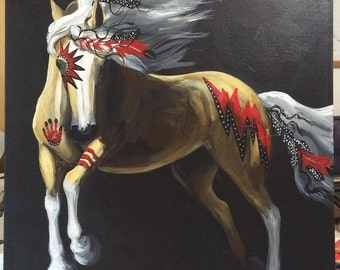Palomino war pony native american art paint pony