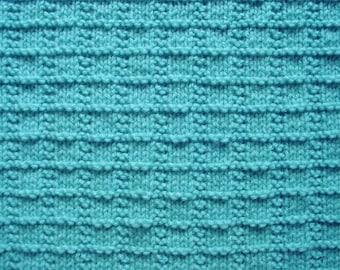 Textured Baby Blanket Afghan Hand-Knit in Light Aqua Blue, Crib or Stroller Blanket, Baby Shower Gift