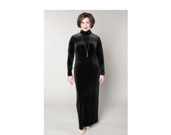 Velvet Turtleneck Shift Dress 4 Lengths Sizes 2-28
