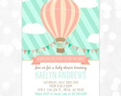 Hot Air Balloon Baby Shower Invitation Mint Coral Baby Shower Invitation Girl Whimsical Invitation DIY Printable Invite PDF (# 171)
