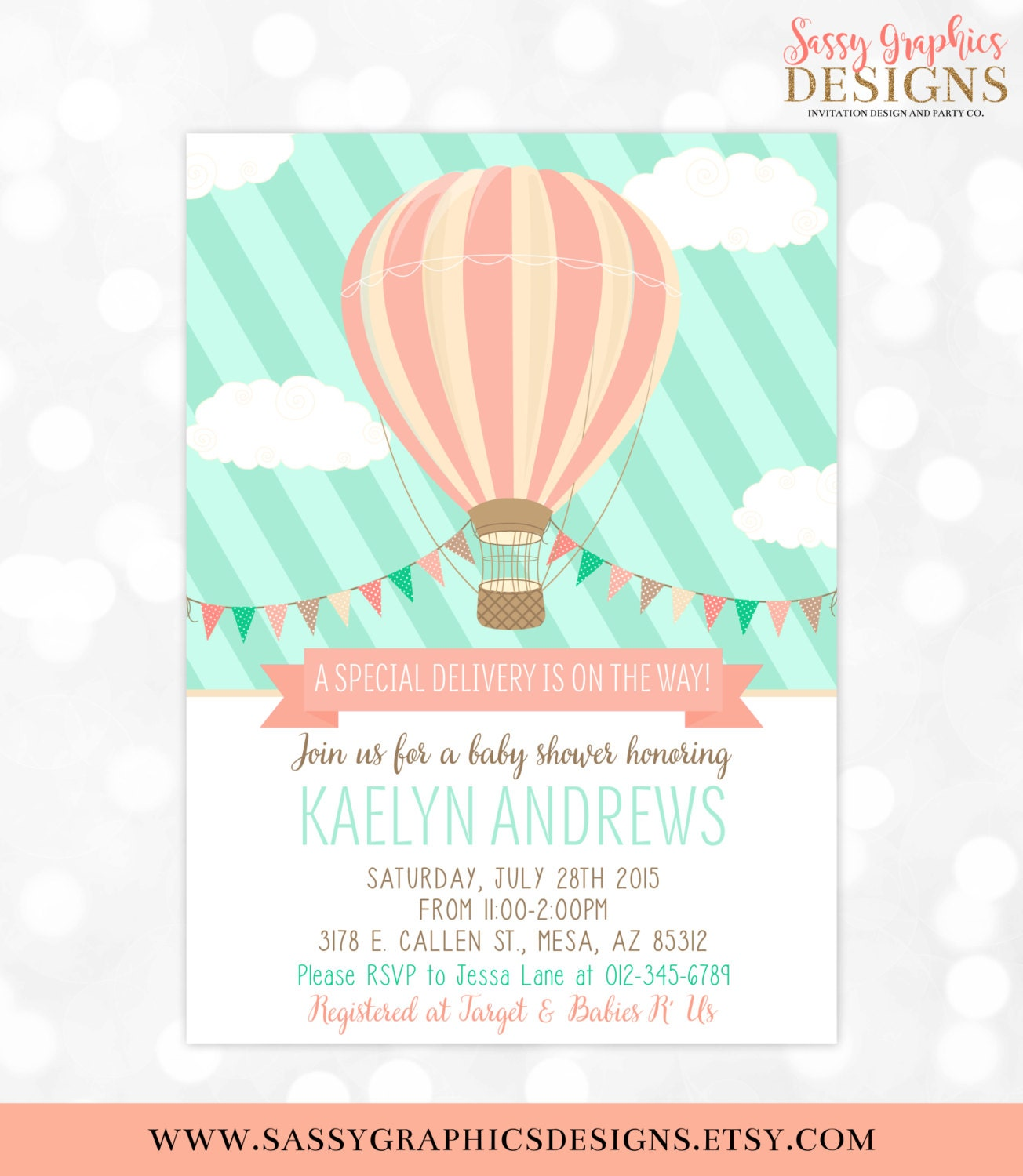 Hot Air Balloon Baby Shower Invitation Mint Coral Baby Shower