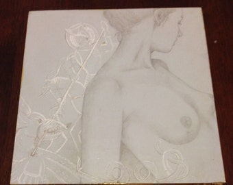 OOAK Silverpoint and Gouache Drawing on Wood Panel, Gold Leaf Edging