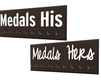 Just married, running couple - Wedding gifts for runners - Medals his and medals hers - medal hangers and medal holder