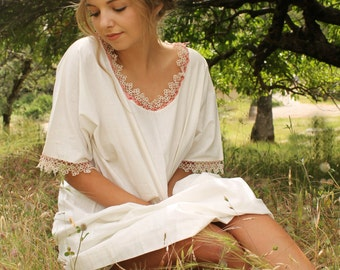 LULU Edwardian Night Gown Vintage Crochet Lace White Cotton Pink Ribbon Sleepwear Shabby Chic