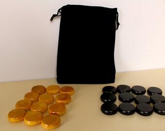 """Crokinole Pieces Standard 1-1/4"""" wooden biscuits, Black/Natural, Paul Szewc, Crokinole Discs"""