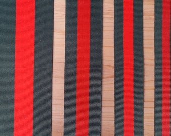 "2Yds x 20mm,25mm (app.3/4"",1"") Double Face Forest Green and Red Stripe Grosgrain Ribbon"