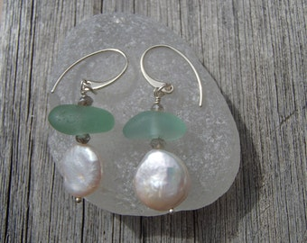 Dainty Sea Glass and Coin Pearl Sterling Silver Earrings (S14)