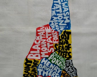 NEW HAMPSHIRE COUNTY map, 30cm x 40cm, hand made map
