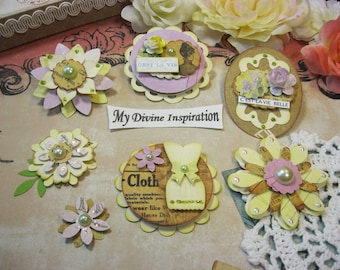 Bo Bunny Ces't La Vie Handmade Paper Embellishments and Paper Flowers for Scrapbook Layouts Cards Mini Albums Tags and Paper Crafts