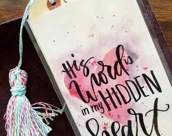 Midori Dashboard with Pocket Original Watercolor Art Print - His Word is Hidden in My Heart