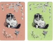 CURIOSITY (2) Vintage Single Swap Playing Cards Paper Ephemera Scrapbook