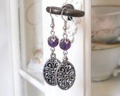 amethyst earrings gemstone earrings purple earrings silvertone earrings vintage style earrings vintage inspired earrings boho earrings