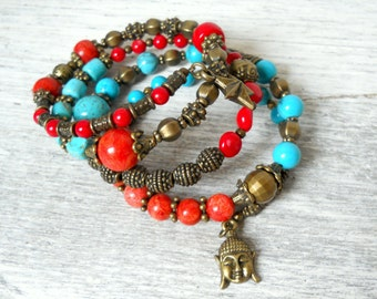 buddha bracelet boho bracelet turquoise and red coral memory wire bracelet gypsy bracelet bronze boho bracelet gypsy style yoga bracelet