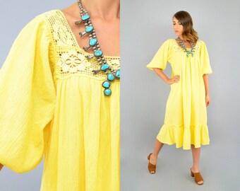 70's Yellow CROCHET Mexican Dress