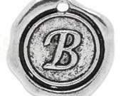 """Add On Initial """"B"""" Charm, personalized letter charm, monogram, Personalized Keychain, Personalized Necklace, antiqued silver plated charm"""