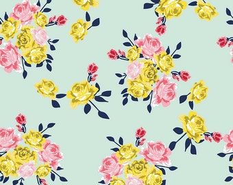 Mint, Pink and Yellow Floral Knit Fabric, Idle Wild Main in Multi by Riley Blake, by the half yard or yard