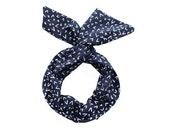 Twist Hair Scarf - Wire Headband - White Checkmarks on Navy